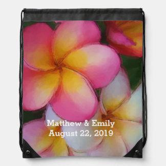 Frangipani Plumeria Flowers Wedding Favor Drawstring Bag