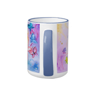 Frank Borman Elementary Butterfly watercolor paint Ringer Coffee Mug