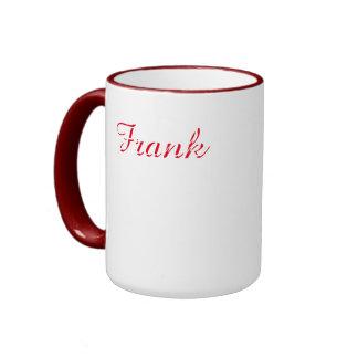 Frank Customized Red Ringer White Mug