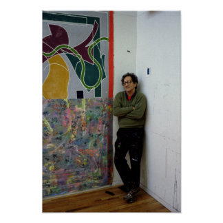 Frank Stella  beside one of his works Poster