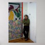 Frank Stella  beside one of his works Print