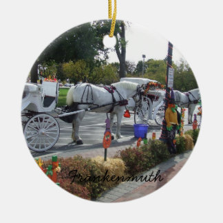 Frankenmuth Michigan White Horse Carriage Autumn Christmas Ornament
