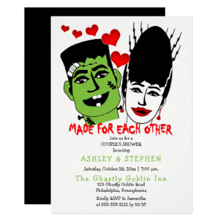 Frankenstein and Bride  Couple's Wedding Shower Card