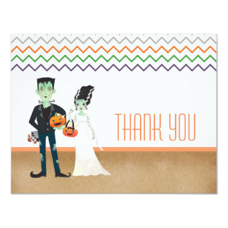 Frankenstein and Bride Halloween Thank You Card