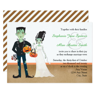 Frankenstein and Bride Halloween Wedding Card