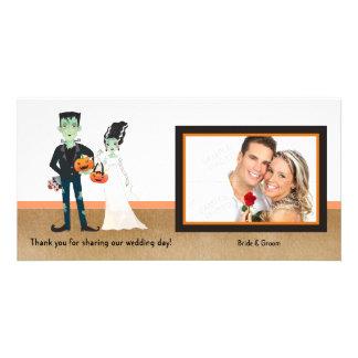 Frankenstein and Bride Halloween Wedding Card