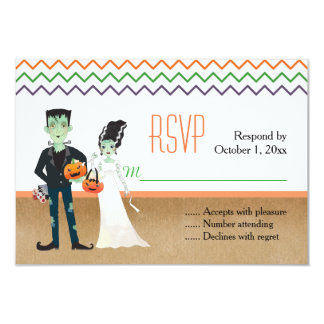 Frankenstein and Bride Halloween Wedding RSVP Card