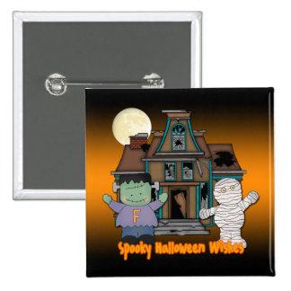 Frankenstein and Mummy Halloween Button
