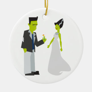 Frankenstein & Bride Round Ceramic Decoration