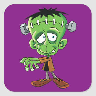 FRANKENSTEIN CARTOON SQUARE STICKER