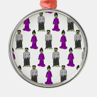 Frankenstein Couple Silver-Colored Round Decoration