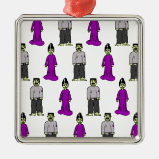 Frankenstein Couple Silver-Colored Square Decoration