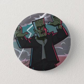 frankenstein creature in storm 6 cm round badge