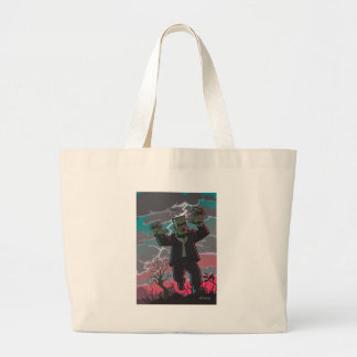 frankenstein creature in storm large tote bag