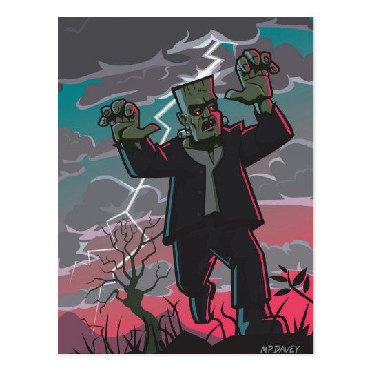 frankenstein creature in storm postcard