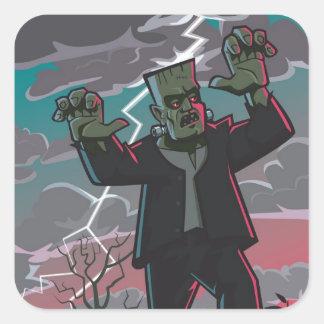 frankenstein creature in storm square sticker