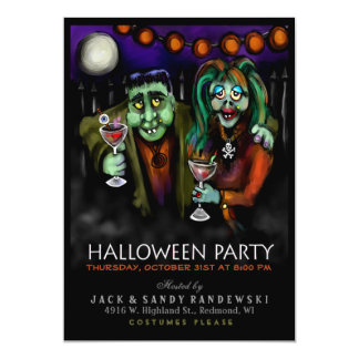 Frankenstein & Date Halloween Party Invite