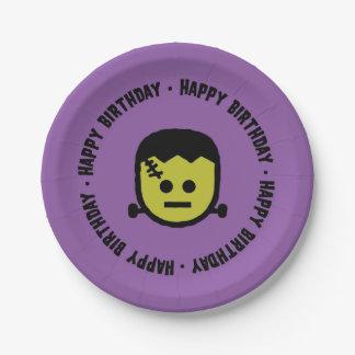 Frankenstein Halloween Birthday Paper plates