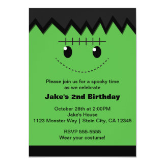 Frankenstein Halloween Cute Kids Party Invitation