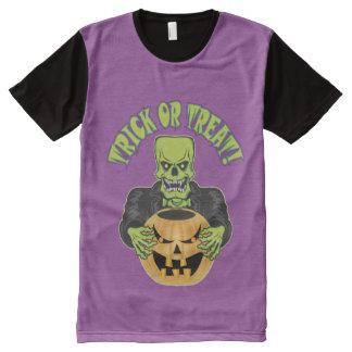 Frankenstein Halloween Skull All-Over Print T-Shirt