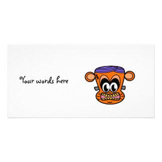Frankenstein monkey in orange photo card