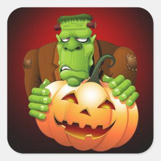 Frankenstein Monster Cartoon with Pumpkin Square Sticker