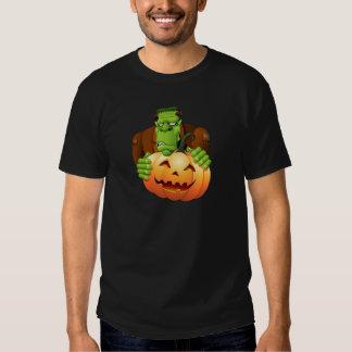 Frankenstein Monster Cartoon with Pumpkin T Shirts