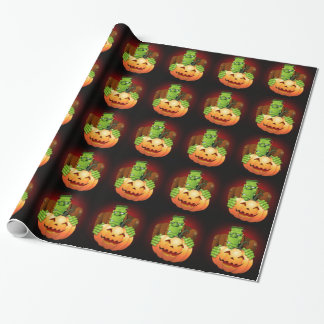 Frankenstein Monster Cartoon Wrapping_paper Wrapping Paper