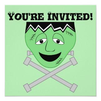 Frankenstein Monster Face And Crossbolts 13 Cm X 13 Cm Square Invitation Card
