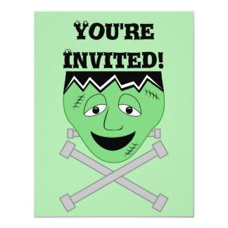 Frankenstein Monster Face And Crossbolts 11 Cm X 14 Cm Invitation Card