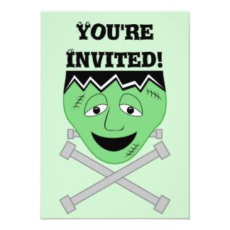 Frankenstein Monster Face And Crossbolts 13 Cm X 18 Cm Invitation Card