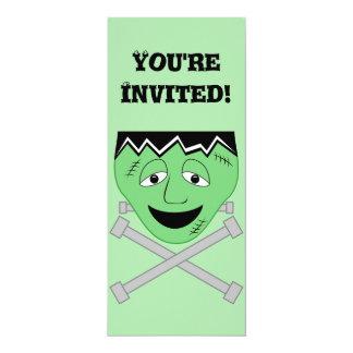Frankenstein Monster Face And Crossbolts 10 Cm X 24 Cm Invitation Card