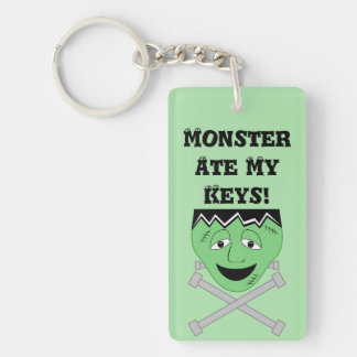 Frankenstein Monster Face And Crossbolts Double-Sided Rectangular Acrylic Keychain