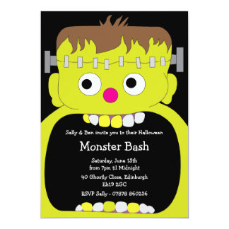 Frankenstein Monster Face Halloween Party Card