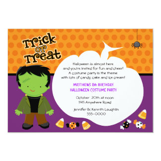 Frankenstein Monster Halloween Birthday Invite