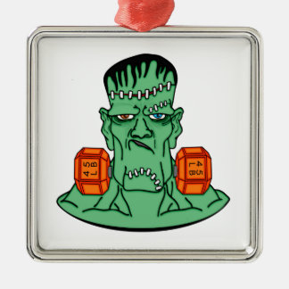 Frankenstein under weights Silver-Colored square decoration