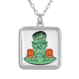 Frankenstein under weights silver plated necklace