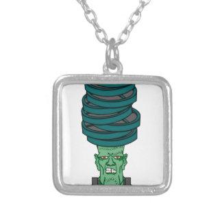 Frankenstein under weights silver plated necklace