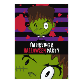Frankensteins Monster Patterned Party Invite