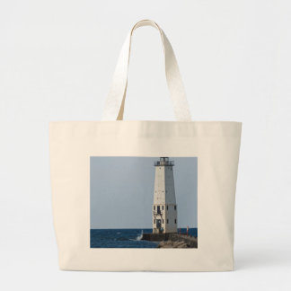 Frankfort Michigan Lighthouse Canvas Bags