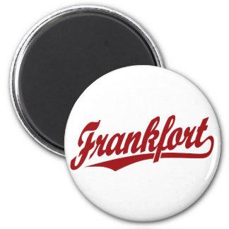 Frankfort script logo in red 6 cm round magnet