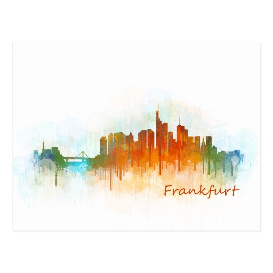 Frankfurt Germany City Watercolor Skyline Hq v3 Postcard