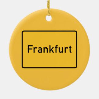 Frankfurt, Germany Road Sign Round Ceramic Decoration