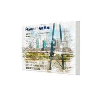 Frankfurt panorama. Skyscrapers, iron bar Canvas Print