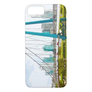Frankfurt panorama. Skyscrapers, iron bar iPhone 8/7 Case