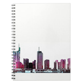 Frankfurt, Skyscraper Architecture - illustration Spiral Notebook