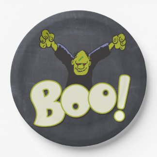 Frankie Monster Frankenstein Halloween Black Chalk Paper Plate