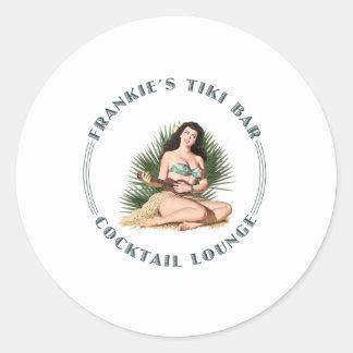 Frankie's Tiki Bar Hula Girl Classic Round Sticker