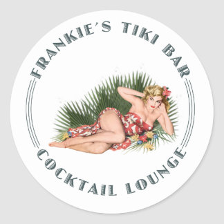 Frankie's Tiki Bar Hula Girl Cocktail Lounge Classic Round Sticker