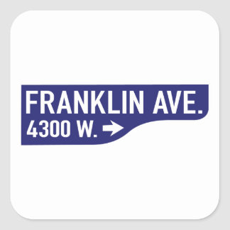 Franklin Avenue, Los Angeles, CA Street Sign Square Sticker